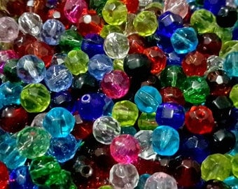 Assorted Crystal Glass Faceted Round Beads. Choice of Size (4mm, 6mm, 8mm, 10mm)