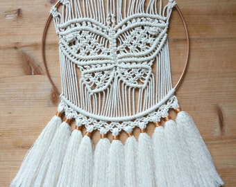 Circle Butterfly decoration-macrame / Macrame butterfly wall hanging