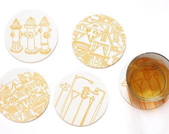 City and House Coasters