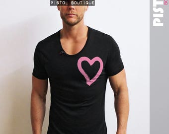 "Pistol Boutique Mens ""SMALL CHEST HEART"" Black Scoop neck fashion Tshirt"