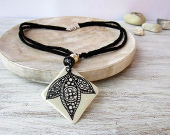 Necklace with porcelain hand painted pendant and black fabric collar, porcelain jewelry, porcelain necklace, ceramic pendant, ceramic bijoux