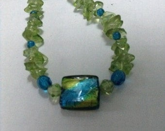 18 inch single strand teal blue and green necklace