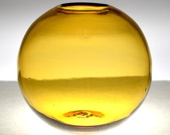 "Vintage Mid Century Modern Blenko #3615 8"" Amber/Honey Globe Fish Bowl Vase c1960-70s"