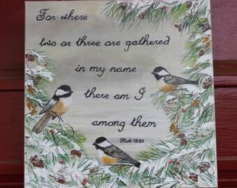 Winter Chickadees with Verse