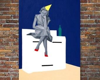 SALE, Original painting, mixed media, 1950's housewife, modern art, wall art, fine art print, christmas gift, home decor, original art gift