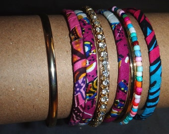 boho bracelet, Bangles, stack, gypsy, jewelry, fabric, bangle, stacked, tribal bracelet, African bracelet, rhinestones, beads, beaded