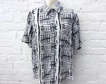 Summer shirt, vintage 80's print, menswear fashion