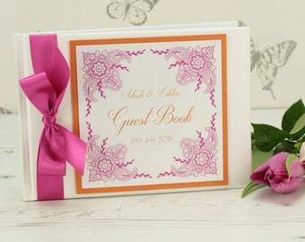 Personalised Indian Garden Wedding Guest Book