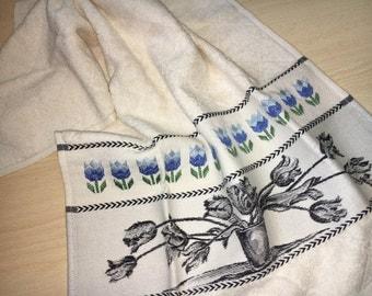 Blue Tulips Dishtowel Dishcloth