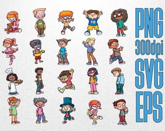 Kid Character Clipart // Boy Clipart // Girl Clipart // Child Clipart // Clipart in PNG Transparent SVG EPS Vector
