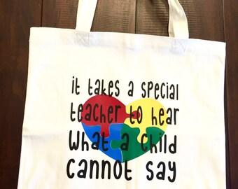 Autism teacher canvas tote bag