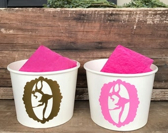 Ballerina Party, Dance Birthday, Ice Skating Party, Custom, Favor, Gift, 12 oz Paper Snack Cups, Sets of 8, 10, 12, or 15