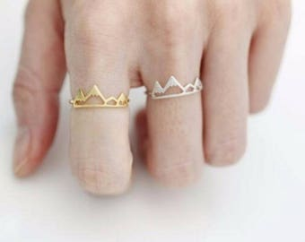 "Mountain, Adjustable ring - ring ""Top quality"" gold plated / / 50% reduction_ gift"