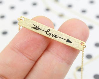 Boho Bohemian love gold plated Love bracelet romantic wife Word arrow boho chic jewelry