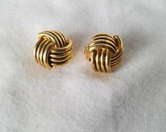 Gold Earrings, Knot Earrings, Vintage Earrings, Retro Earrings, Formal Earrings, Casual Earrings, Wedding Earrings, Clip on Earrings, Clipon