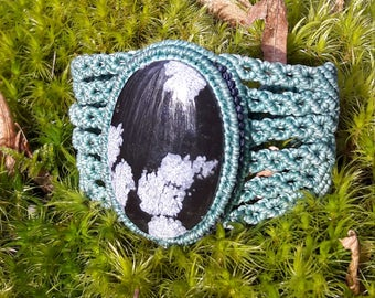 Macrame snowflake Obsidian bracelet.