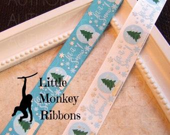 Let it Snow, Snowglobe, Grosgrain Ribbon, Christmas Ribbon, Bow ribbon, Craft ribbon, Scrapbooking, USDR
