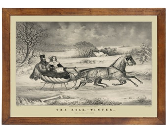 The Road - Winter by Currier & Ives, 1853; 24x36 inch print reproduced from a vintage lithograph