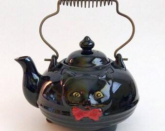 Collectible Vintage Black Cat Tea Pot