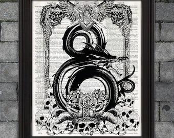 Dungeons and Dragons Poster - Dragon Ampersand dnd geek gift Fantasy home decor wall art gamer decor nerd gift tabletop rpg original artwork