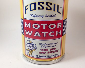 "Price Drop! Fossil Watch Co. Tin Oil Can Watch Box. Looks like real oil can, ""refinery sealed"""