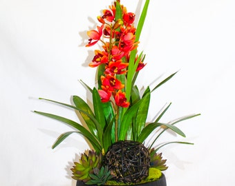 Contemporary Red Orchid Floral Arrangement