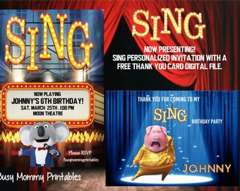 Sing Inspired Invitation- Personalized,Sing Birthday Invitation, Sing Moive, Sing Birthday Party, FREE 5x7 Thank You Card