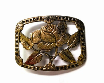Vintage Gold Flower Brooch, Square Brooch, Framed Brooch Pin, Flower Pin, Metal Brooch, Accessories, Boutique, Fashion Jewelry