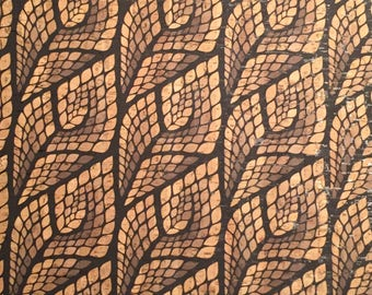 Cork Fabric (US Supplier) - Mosaic Leaves - Vegan - EcoFriendly Leather Alternative - You Choose Your Cut - Made in Portugal