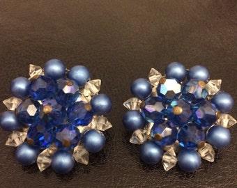 Gorgeous Blue Cluster Earrings