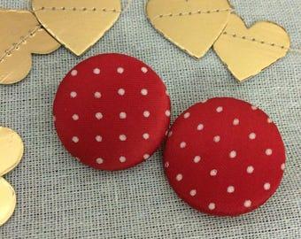 Red Polka Dot Clip On Earrings