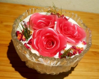 Rose candle with glass canister/ Soy candle/ gift candles/ ローズキャンドル/ソイキャンドル /グラスキャニスター