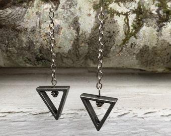 Minimalist Geometric Drop Earrings Silver Colored Triangles