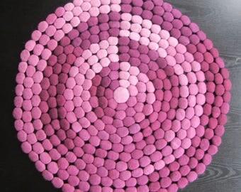 Nightmare Catcher Lite - Wool Felt Disc Circle Rug in Plum Tones