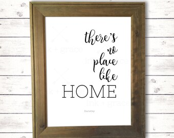 """There's No Place Like Home sign 8.5x11"""" instant digital download farmhouse style sign"""