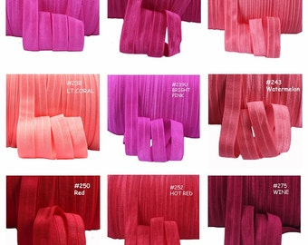 Colour Chart 3 - FOE Fold Over Elastic 5/8th Inch 16mm - per 1 Yard - Red Dark Pink Coral