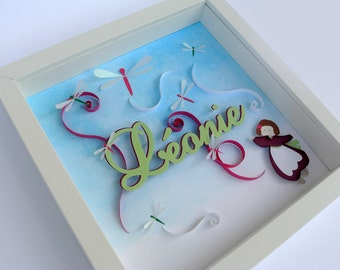 Picture theme dragonflies birth or christening personalized gift. girl, sky, first name. in relief. Deco kid's room. paper cut