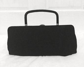 Vintage black velvet clutch