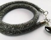Grey sparkly bracelet with hematite heart, Double grey everyday bracelet. Stardust beaded bracelet with hematite heart