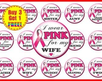 Breast Cancer Awareness Bottle Cap Images - Pink Ribbon - Instant Download - High Resolution Images - Buy 3, Get 1 FREE