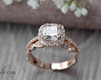 set of 2cushion engagement ring and art deco band in 14k rose gold - Bridal Set Wedding Rings