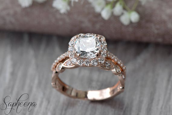 Set of 2Cushion Engagement Ring and Art Deco Band in 14k Rose
