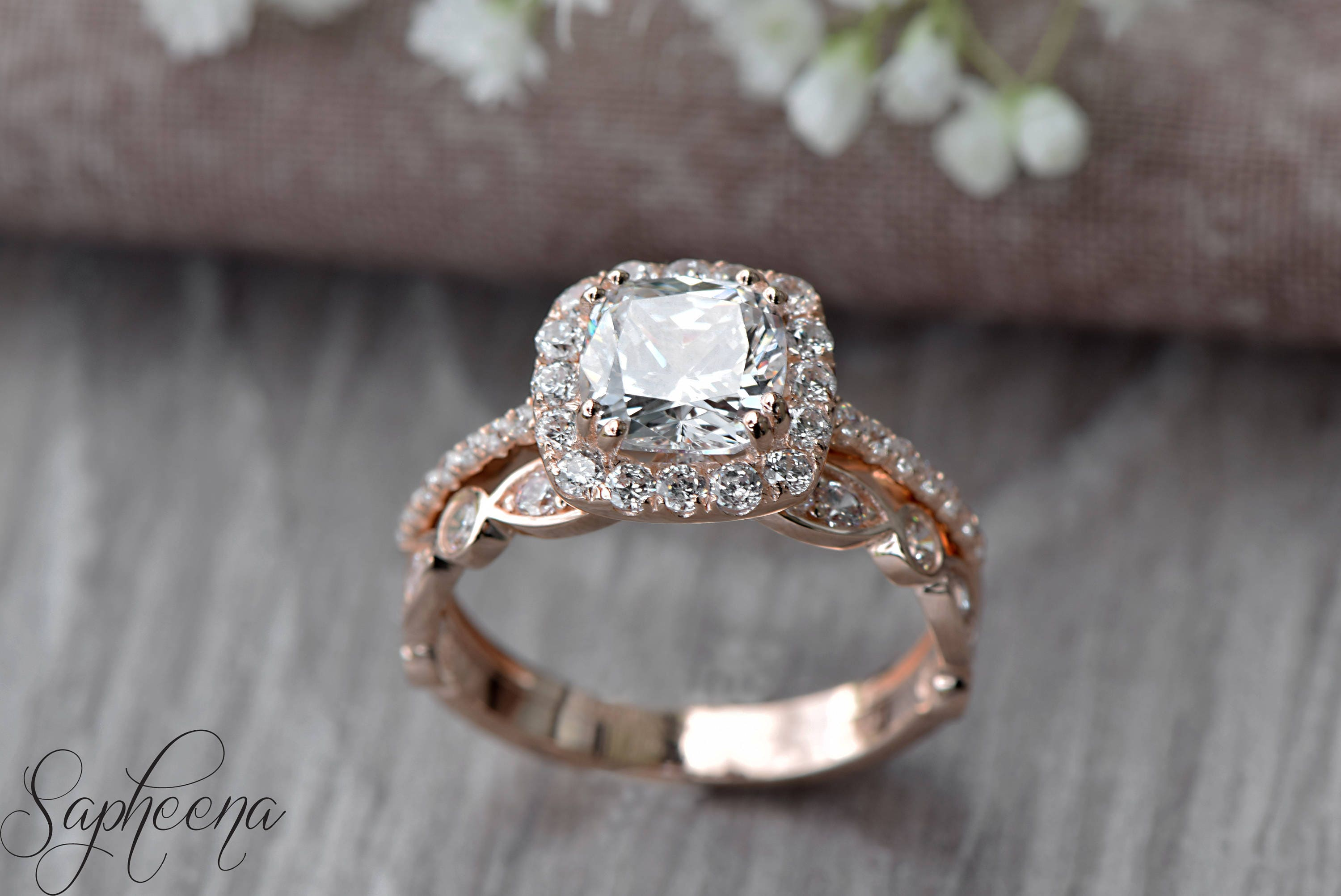 Set of 2 Brilliant Cushion Cut Engagement Ring with Art Deco