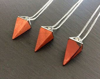 red jasper necklace, red jasper jewelry, red jasper pendant, red jasper stone, crystal necklace, red jasper point necklace, red jasper