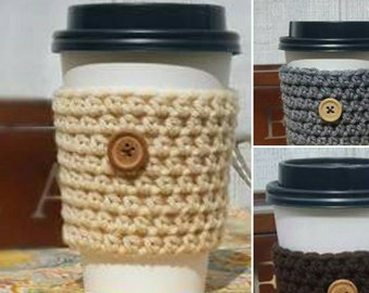 Crochet Cup Sleeve Button Neutrals Everyday Cup Sleeve