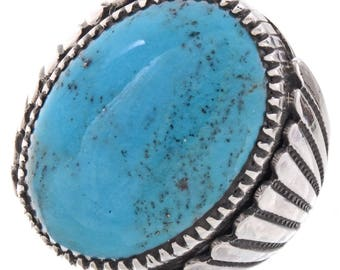 Navajo Turquoise Mens Ring Bold Sterling Design Any Size