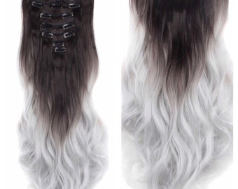 "Balayage Ombre Hair Extensions Dark Brown/Silver Ombre Clip In Extensions 24"" Long Straight Wavy Curly Hair Weave Extensions TOP QUALITY #H2"