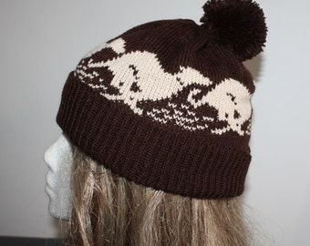 Dark Brown Beanie with Beige racing Whippet or Greyhound dogs pompom Hat