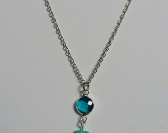 Turquoise and Sea Blue Glass Pendant Necklace