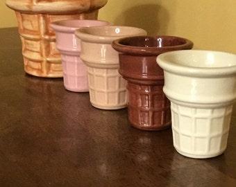 Large Ceramic Ice Cream Cone & Bowl Set